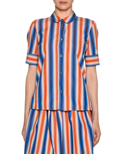 Short-Sleeve Button-Front Striped Cotton Poplin Blouse