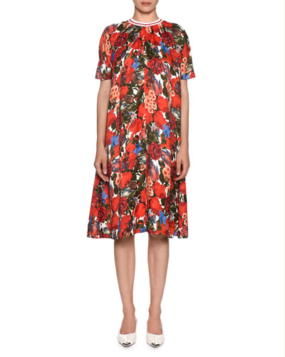 Short-Sleeve Pleated A-Line Floral-Print Dress