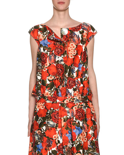 Sleeveless Button-Front Floral-Print Blouse