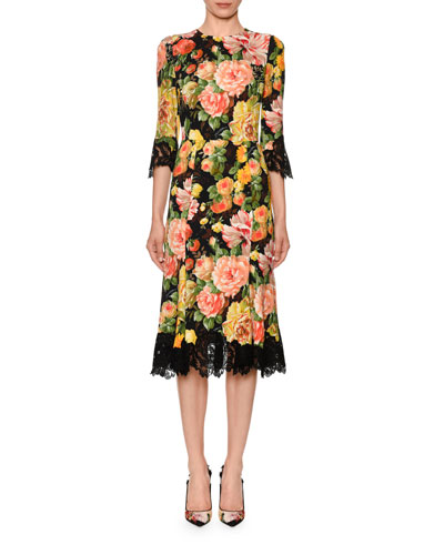 Lace-Trim Half-Sleeve Floral-Print Cady Midi Dress