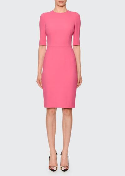 Half-Sleeve Jewel-Neck Sheath Dress