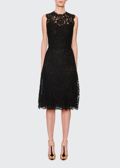 Sleeveless Cordonetto-Lace Illusion Midi Dress