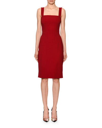 Sleeveless Square-Neck Cady Sheath Dress