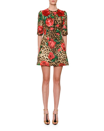 1/2-Sleeve Rose & Leopard Brocade Dress
