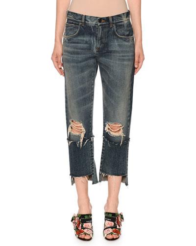 Mid-Rise Ripped Boyfriend-Fit Crop Jeans