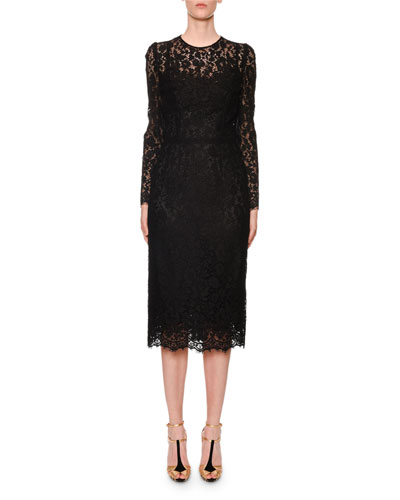 Long-Sleeve Classic Floral-Lace Midi Dress