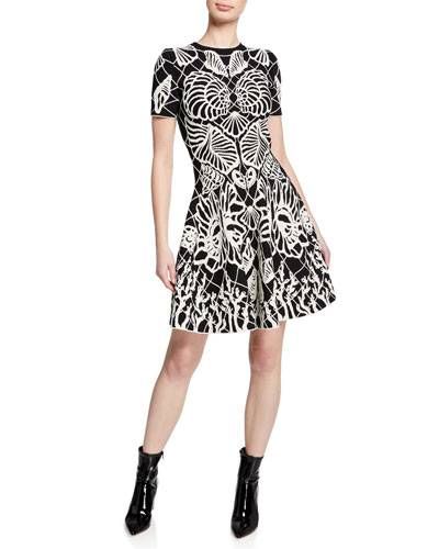 3fd392e0d5a7f Shell-Print Short-Sleeve Fit-and-Flare Knit Dress Quick Look. Alexander  McQueen