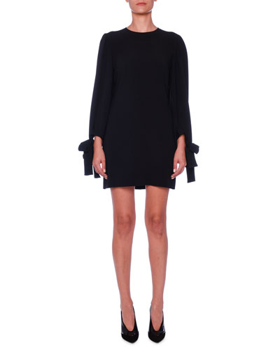 Crewneck Tie-Sleeve Cady Mini Dress