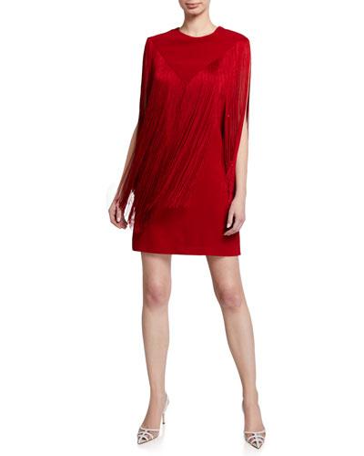 V-Fringed Cady Shift Dress