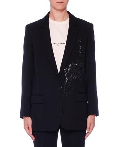Floral-Embroidered One-Button Blazer
