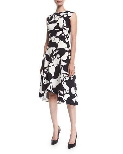 5b55f4dd47 Narciso Rodriguez Dress. Sleeveless Leaf-Print Silk Knee-Length Dress