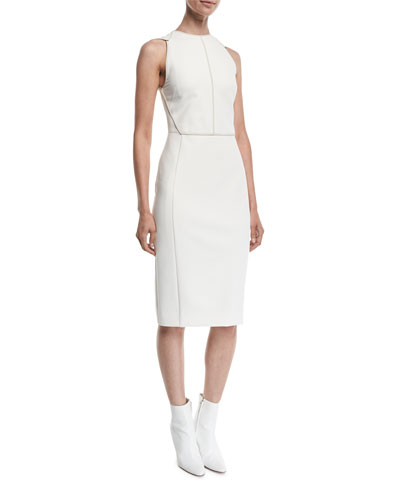 Sleeveless Contrast-Seamed Scuba Sheath Dress