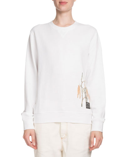 Floral-Print Logo-Back Crewneck Cotton Sweatshirt