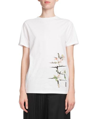 Floral-Print Logo-Back Crewneck Short-Sleeve Cotton T-Shirt