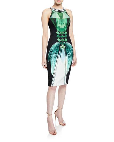 Mod Perfume-Print Crewneck Fitted Dress