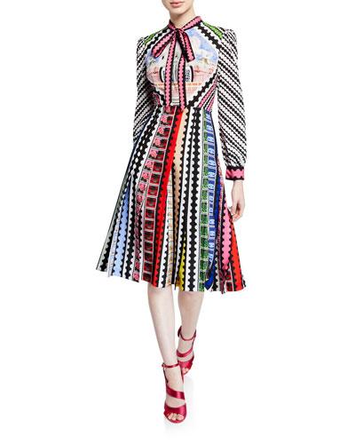 Tie-Neck Airmail-Print Midi Dress