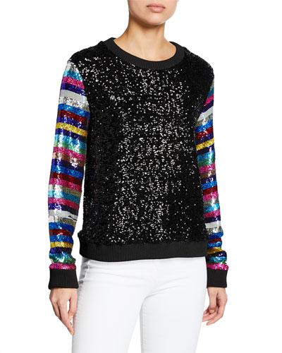 Magpie Sequined Rainbow-Sleeve Sweater
