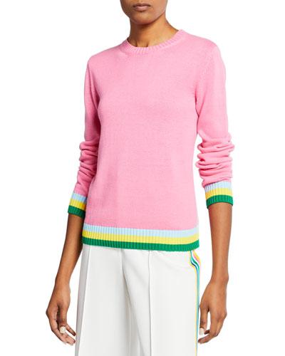 1b62fa6f86 Stripe-Trim Cotton Crewneck Sweater