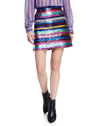 High-Rise Rainbow Sequined Striped Mini Skirt