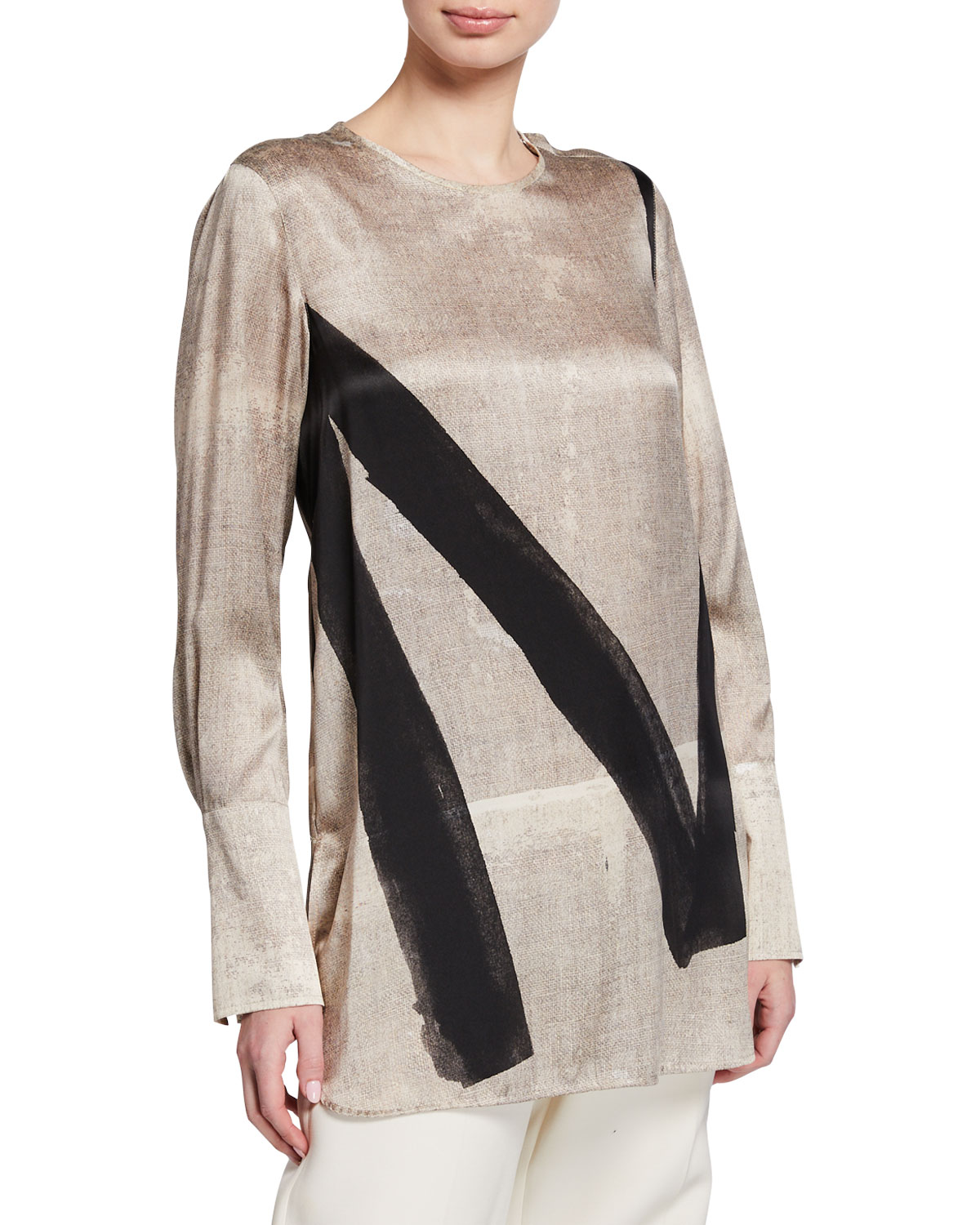 Max Mara Tops ATTORE PAINTED SILK TUNIC BLOUSE