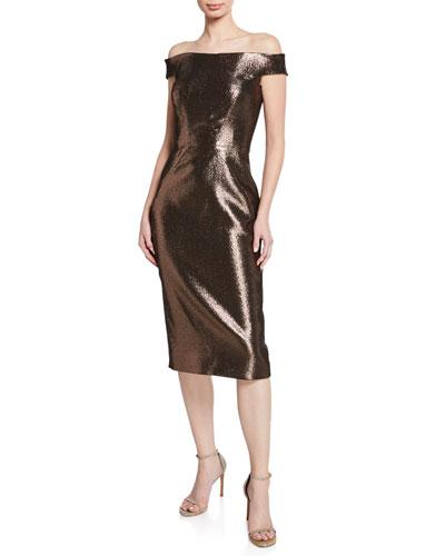 Off-the-Shoulder Metallic-Jacquard Body-Con Midi Cocktail Dress