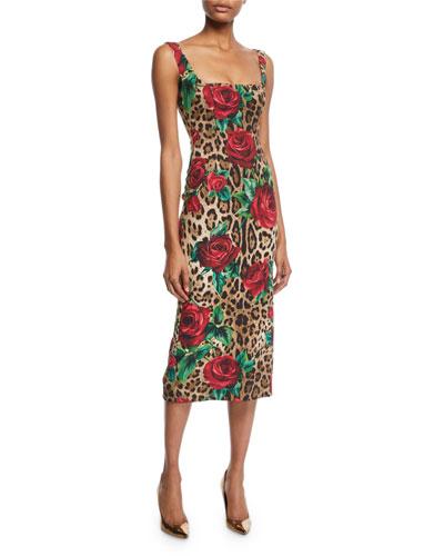 Sleeveless Square-Neck Rose & Leopard Print Dress