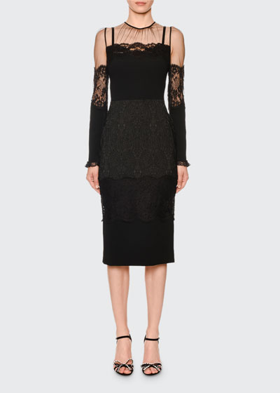 Long-Sleeve Sheer-Yoke Lace-Trim Midi Dress