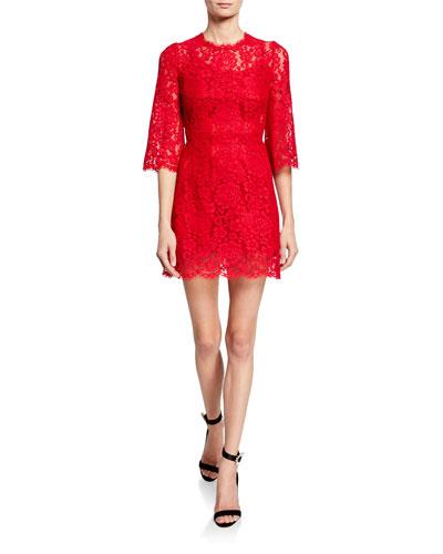 3/4-Flare Sleeve Cordonetto Lace Illusion Dress