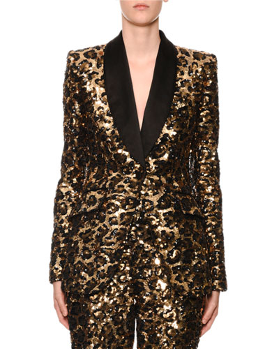 Sequined Leopard-Print Single-Breasted Blazer