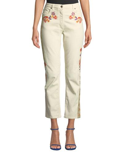Mid-Rise Floral-Patch Crop Jeans