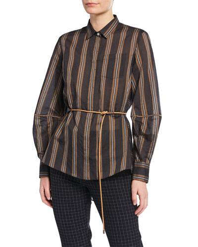 Monili-Striped Striped Organza Button-Front Blouse