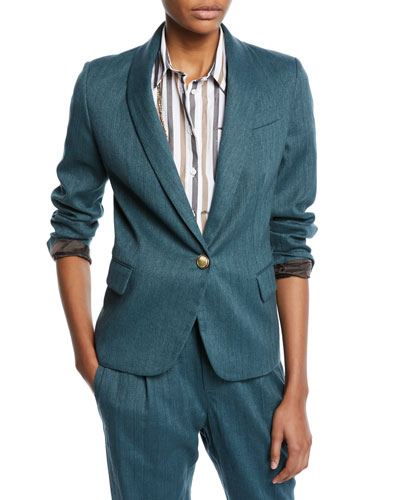 Monili-Collared Chevron Cotton-Linen Button-Front Blazer
