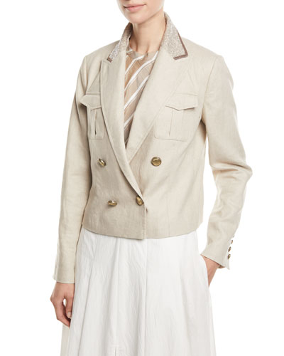 Paillette-Collar Double-Breasted Cropped Linen-Cotton Jacket