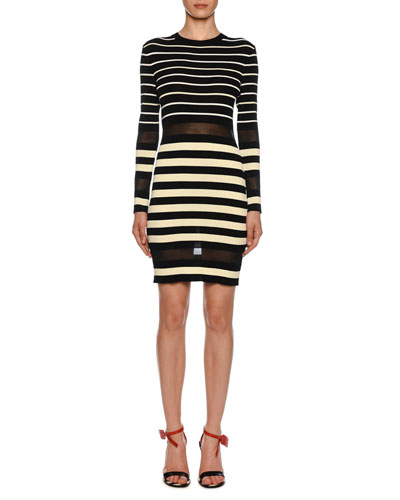 Long-Sleeve Sheer Striped Bodycon Dress