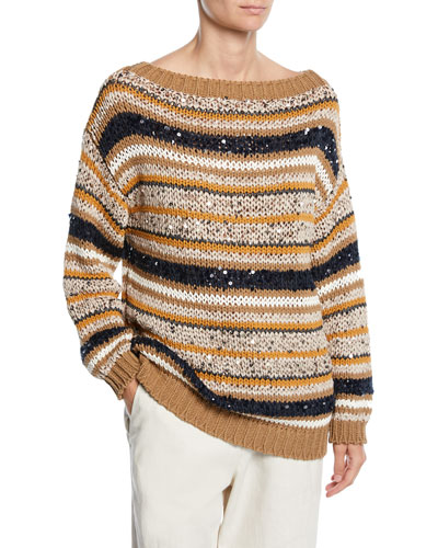 Striped Sequined Knit Sweater