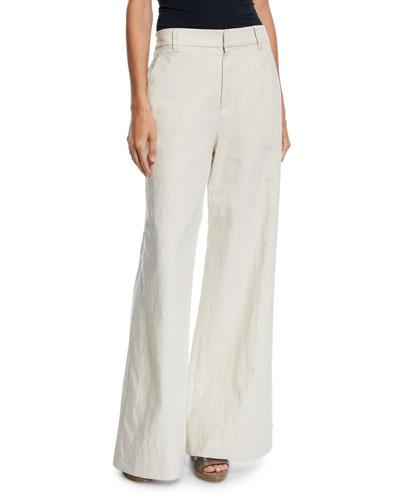 High-Waist Flare-Leg Linen-Cotton Pants