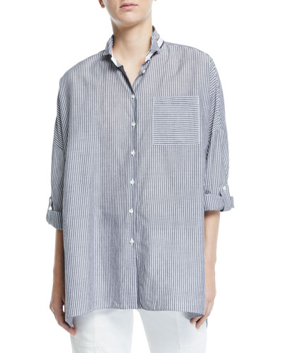Oversized Striped Poplin Button-Front Blouse