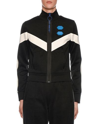 Mock-Neck Zip-Front Chevron Jacket