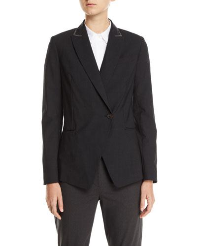 Monili-Beaded Tropical Wool Jacket