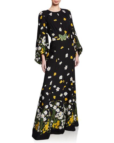 Floral-Print Jewel-Neck Long Blouson-Sleeve Gown