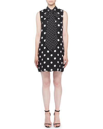 Sleeveless Tie-Neck Polkadot Shift Dress