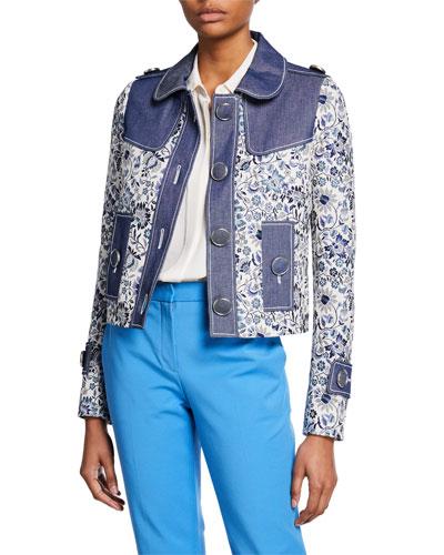 Floral Jacket with Denim Trim