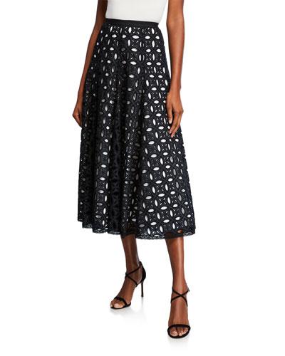 Midi Eyelet Skirt