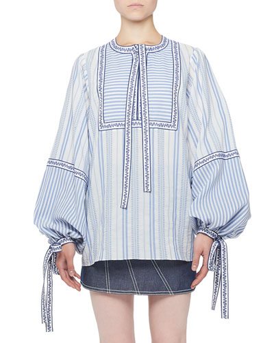 Long-Sleeve Mixed Stripe Tie-Neck Peasant Blouse