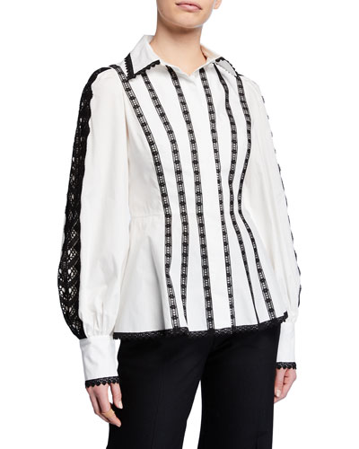 Long-Sleeve Lace-Striped Cotton Blouse
