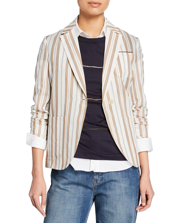 Brunello Cucinelli Jackets STRIPED COTTON-SILK JACKET