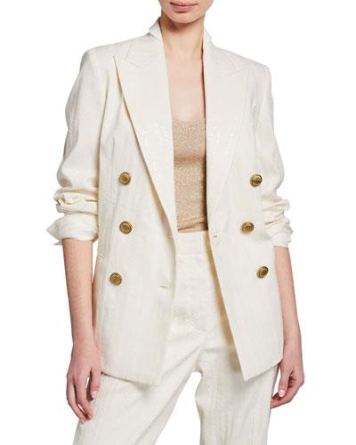 Chevron Striped Cotton-Linen Sequined Jacket