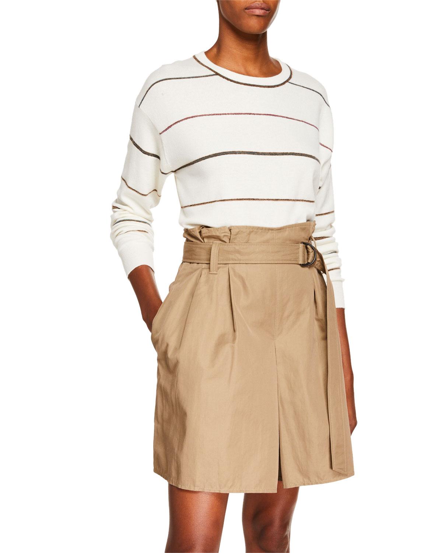 Brunello Cucinelli Sweaters Cashmere Crewneck Double-Hem Sweater, WHITE