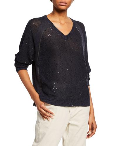 Sequined Linen-Silk Raglan-Sleeve Sweater