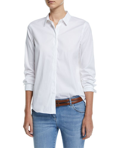 Monili-Collar Poplin Button-Front Blouse